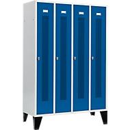 Locker met doorlopende ventilatiegaatjes, 4 afdelingen, 300 mm, met poten, deuren gentiaanblauw
