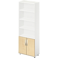 LOGIN combi-boekenkast 6 OH, 3 legborden boven en 2 deuren onder, B 800 x D 420 x H 2196 mm, wit/ahorndecor
