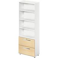 LOGIN combi-boekenkast 6 OH, legborden boven en 2 hangmappenladen onder, B 800 x D 420 x H 2196 mm, wit/ahorndecor