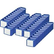 Lot bacs de rayonnage RK 521 pr. rayonnages de 500 mm de profondeur, polystyrène bleu, 5 pièces