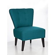 Lounge fauteuil BRIGHTON, stofbekleding, vintage look, massief houten poten, blauw