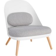 Lounge fauteuil, gestoffeerd, B 700 x D 655 x H 755 mm, 4-poten, witte zitschaal