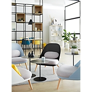 Lounge Sessel, 4-Fuß, B 700 x T 655 x H 755 mm, gepolstert, Sitzschale schwarz