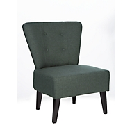 Lounge Sessel BRIGHTON, Stoffbezug, Vintage-Look, Massivholzbeine, anthrazit