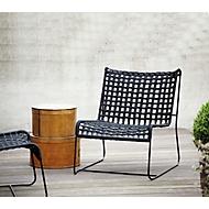 Loungefauteuil Jan Kurtz In/Out, staal/polyester, gevlochten zitting, B 700 x D 800 x H 850 mm, zwart