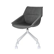 Luge shell stoel, set van 2, B 555 x D 580 x H 840 mm, 360° draaibaar, wielen, gestoffeerd, polypropyleen & gelakt staal, anthr./white