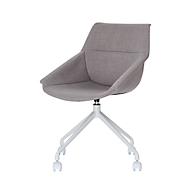 Luge shell stoel, set van 2, B 555 x D 580 x H 840 mm, 360° draaibaar, wielen, gestoffeerd, polypropyleen & gelakt staal, grijs / wit