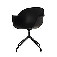Maanschaalstoel, set van 2, B 600 x D 575 x H 830 mm, 360° draaibaar, polypropyleen & staal, gelakt, zwart