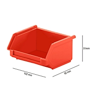 Magazijnbak SSI Schäfer LF 110, polypropeen, L 92 x B 100 x H 50 mm, 0,26 l, rood