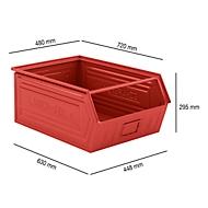 Magazijnbak SSI Schäfer LF 14/7-1, staal, L 720 x B 480 x H 295 mm, 83 l, rood