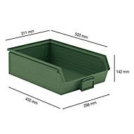 Magazijnbak SSI Schäfer LF 14/7-2H, staal, L 503 x B 311 x H 142 mm, 17 l, groen
