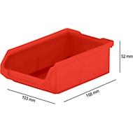 Magazijnbak SSI Schäfer LF 210, polypropeen, L 168 x B 103 x H 52 mm, 0,5 l, rood