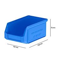 Magazijnbak SSI Schäfer LF 211, polypropeen, L 168 x B 103 x H 76 mm, 0,9 l, blauw