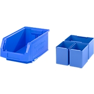 Magazijnbak SSI Schäfer LF 321, L 343 x B 209 x H 145 mm, 7,5 l, blauw + inzetbak 2x EK111, 1x EK112