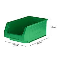 Magazijnbak SSI Schäfer LF 321, polypropeen, L 343 x B 209 x H 145 mm, 7,5 l, groen
