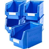 Magazijnbak SSI Schäfer LF 322, polypropeen, L 343 x B 209 x H 200 mm, 10,4 l, blauw, 5 stuks