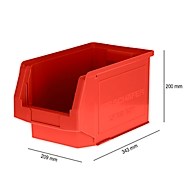 Magazijnbak SSI Schäfer LF 322, polypropeen, L 343 x B 209 x H 200 mm, 10,4 l, rood