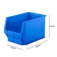 Magazijnbak SSI Schäfer LF 533, polypropeen, L 500 x B 312 x H 300 mm, 38 l, blauw