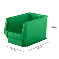 Magazijnbak SSI Schäfer LF 533, polypropeen, L 500 x B 312 x H 300 mm, 38 l, groen