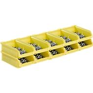 Magazijnbakken serie LF210 SSI Schäfer, stapelbaar, 0,5 l, 10 stuks, met gleuven en handgreep, geel