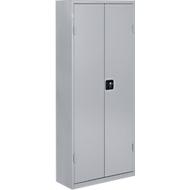 Magazijnkast, 1690 mm hoog, 11 legborden, 60 bakken, met deuren, blank alu