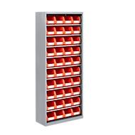 Magazijnkast, 1690 mm hoog, 9 legborden, 40 bakken, zonder deuren, lichtgrijs