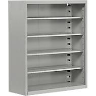 Magazijnkast, 830 mm hoog, 4 legborden, zonder bakken, zonder deuren, blank alu