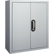 Magazinschrank, 830 mm hoch, 6 Böden, 42 Kästen, mit Türen, weißaluminium