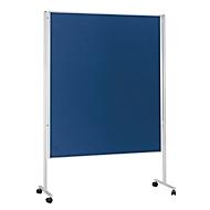 magnetoplan® Stellwand, mobil, doppelseitig, B 1500 x T 1200 mm, blau, Filz