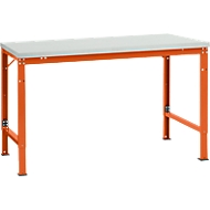 Manuflex basistafel UNIVERSAL Speciaal, 1500 x 1000 mm, melamine lichtgrijs, roodoranje
