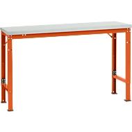 Manuflex basistafel UNIVERSAL Speciaal, 1500 x 800 mm, melamine lichtgrijs, roodoranje