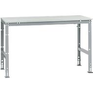 Manuflex Grundtisch UNIVERSAL Standard, Tischplatte Melamin, 1500x800, alusilber