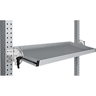 Manuflex kantelbare opbergconsole, voor de serie Universal of Profi, bruikbare diepte 345 m, voor tafelbreedte 1250 mm, aluminium zilver