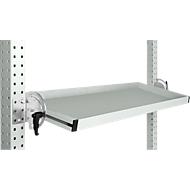 Manuflex kantelbare opbergconsole, voor de serie Universal of Profi, bruikbare diepte 345 m, voor tafelbreedte 1250 mm, lichtgrijs