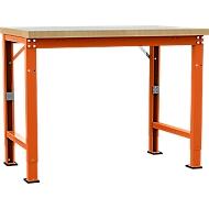 Manuflex Werkbank Profi Spezial, Tischplatte Kunststoff, 1250 x 700 mm, rotorange