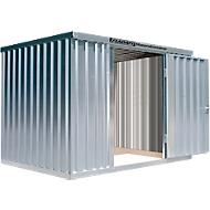 Materiaalcontainer MC 1300, gegalvaniseerd, gemonteerd, met houten bodem