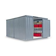 Materiaalcontainer model 1340, gegalvaniseerd, gemonteerd, met houten bodem
