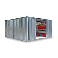 Materiaalcontainer model 1440, gegalvaniseerd, ongemonteerd, met houten bodem