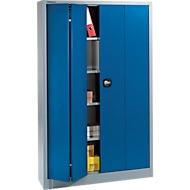Materiaalkast MSF 2412, met vouwdeuren, B 1200 x D 400 x H 1935 mm, aluminium zilver/gentiaanblauw