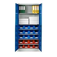 Materiaalkast MSI 2409, met 12 bakken, blank aluminium/gentiaanblauw
