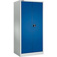 Materiaalkast MSI 2609 S, belastbaar tot 100 kg per legbord, H 1935 mm, lichtgrijs/gentiaanblauw