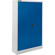 Materiaalkast SSI Schäfer MSI 16408 , B 800 x D 400 x H 1535 mm, 3 legplanken, staal, wit aluminium RAL 9006/enziumblauw RAL 5010