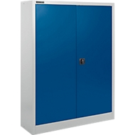 Materiaalkast SSI Schäfer MSI 16409, B 950 x D 400 x H 1535 mm, 3 legplanken, staal, wit aluminium RAL 9006/enziumblauw RAL 5010