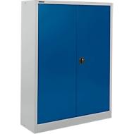 Materiaalkast SSI Schäfer MSI 16412, B 1200 x D 400 x H 1535 mm, 3 legplanken, staal, wit aluminium RAL 9006/enzichtblauw RAL 5010, B 1200 x D 400 x H 1535 mm, 3 legplanken.