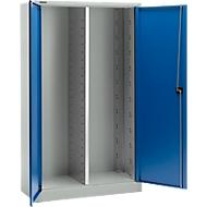 Materialschrank MS 2512, B 1200 x T 500 x H 1935 mm, lichtgrau/enzianblau