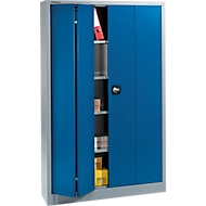 Materialschrank MSF 2412, B 1200 x T 400 x H 1935 mm, alusilber/enzianblau