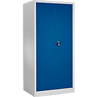 Materialschrank MSI 2509, 5 OH, 4 Zwischenböden, Zylinderschloss, B 950 x T 500 x H 1935 mm, lichtgrau/enzianblau