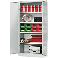 Materialschrank MSI 2509, 5 OH, 4 Zwischenböden, Zylinderschloss, B 950 x T 500 x H 1935 mm, lichtgrau