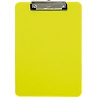 MAUL Klemmbrett, DIN A4, Kunststoff, mit Aufhängeöse, neongelb-transparent