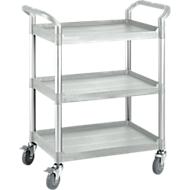 Mehrzweck-Tischwagen, Außenmaße: L 850 x B 480 x H 1000 mm, 3 Etagen, 3 Etagen, lichtgrau